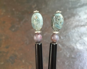 Beautiful pair of hair sticks.  Mei fa style.