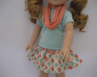 14.5 Inch Doll Clothes - 3 Piece Mint and Coral Outfit made to fit dolls such as the Wellie Wishers doll clothes