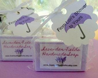 Bridal shower soap favors personalized soap favors purple set of 20 lavender scented soap guest size bars bath and beauty moisturizing soap