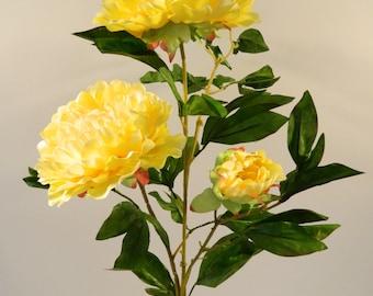 "Silk Peony Spray in Yellow - 42"" Tall"