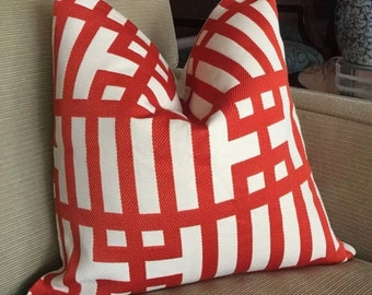 Set Of 2 Stunning Orange/Cream KRAVET COUTURE Cushion Pillow Covers, 20""