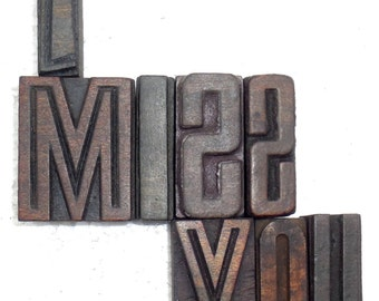"8 Antique Letterpress Printers Wood Type Blocks ""I Miss You"" hand carved & used in India for craft decor etc 50 m.m. #be-25"