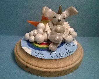 On cloud 9, polymer clay, bunny rabbit, sculpture
