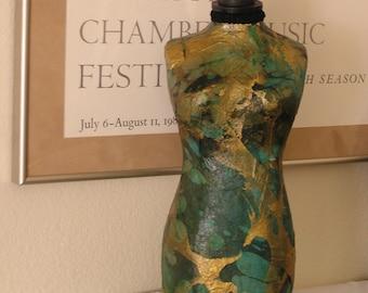 Jewelry Mannequin Organizer in Emerald Green & Gold Handmade Marbleized Paper