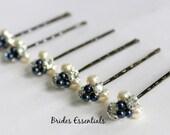 6 Navy Blue Hair Pins, Pearl Hair Clip, Bridal Hair Piece, Bridesmaid Hair Clip, Pearl Cluster Pin, Swarovski Ivory Pearls Rhinestone Pin