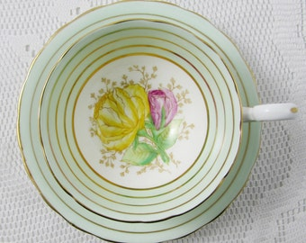 Vintage Tea Cup and Saucer, Made by Victoria, Green and Gold Stripe and Hand Painted Flowers, Bone China