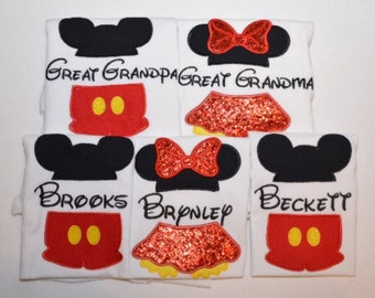 Matching split Mickey and Minnie Mouse shirts