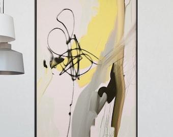Large Abstract Art , Printable Abstract Art, Modern Minimalist, Modern Art, Minimalist Art, Modern Home Art, grey and yellow