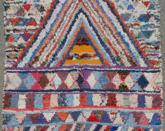 Boucherouite Hand Woven Multi-Coloured Area Rug Azilal-Moroccan rugs