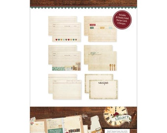 Legacy Recipe Cards Simple Stories Family Lined Cards Hearts Antique Weathered Worn Vintage Wooden Cooking Spoons Baking Kitchen Grandma