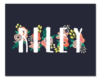 Riley Personalized Name Sign Name Print Nursery Printable Personalized Baby Gift Nursery Wall Art Baby Shower Decor Personalized Name