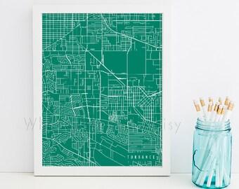 Torrance Map Art Torrance Print Torrance Art Print Torrance Poster Torrance Printable Torrance City Art Torrance California Art Torrance