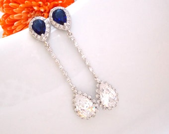 Wedding Jewelry,Silver,Cubic Zirconia Navy Blue Clear,Bridal Jewelry,Bridal Earrings,Bride Gifts,Long Earrings,Dangle,Post,Bridesmaid G