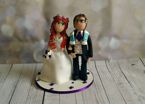 Wedding cake Topper - Fully Personalised a lovely keepsake - Football theme