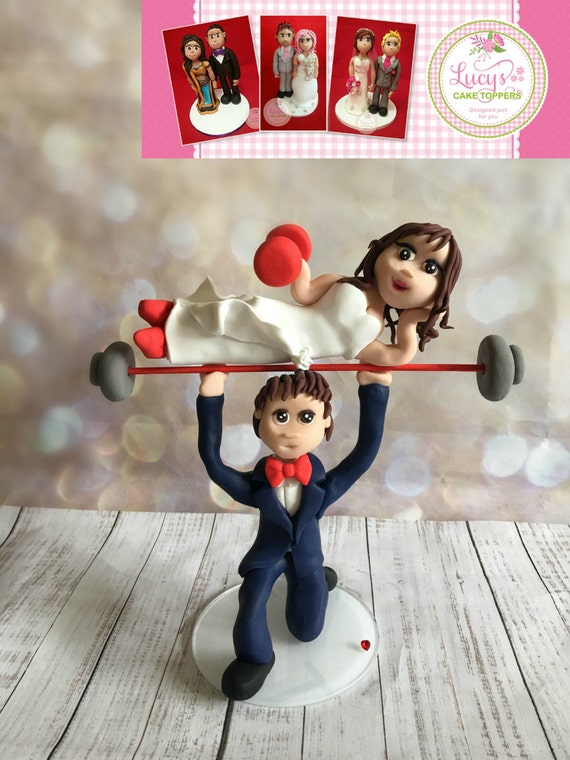 Weight lifter / Weight lifting  / crossfit Wedding Cake Topper - Keepsake - fully personalised