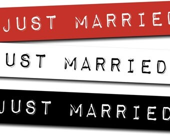 Just Married Impact Label Wedding Sign Photo Booth Prop