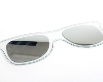 Vintage mirror shaped as sunglasses, wall decor mirror, 80s mirror