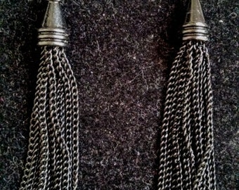 Black bi-cone chain earrings