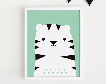 Cute Tiger Poster kawaii bebe Printable art Kids room wall art Print Animal illustration for boys nursery art children poster INSTANT
