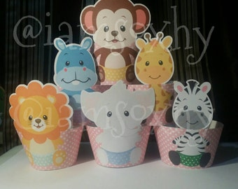 24 Baby Safari cupcake wrappers
