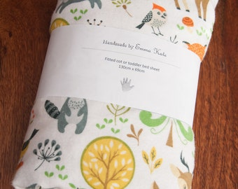 Handmade Woodland Fitted Fllannel Cot Sheet