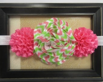 Pink and Green Chevron Satin Flower Headband