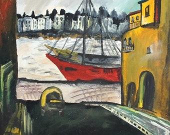 Vintage fauvist oil painting seascape harbour