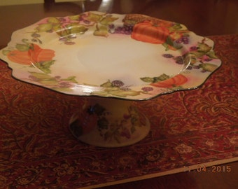 Thanksgiving / Fall Pedestal Cake plate or Serving Dish Hand Painted