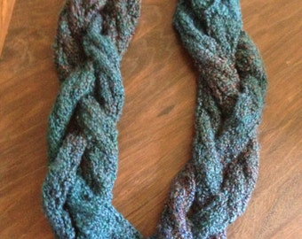 Cabled & Braided Cowl Hand Knit