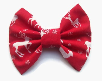 Holiday Hair Clips, Reindeer Bow, Christmas Hair Accessories, Womens Hair Bows, Teen Gift