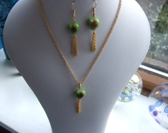 Gold Plated Copper 16' Necklace and Earring Set with Lime Green Glass Heart Beads.