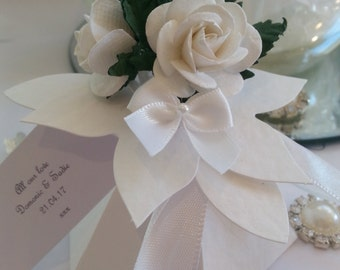 Personalised  white wedding favour box with bouquet of flowers chocolate filled and ready assembled