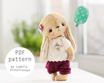 Artist Cute Teddy Bunny pattern, teddy bear bunny, teddy pattern, teddy bear pattern, bunny teddy, soft toy pattern, 4.6 inches