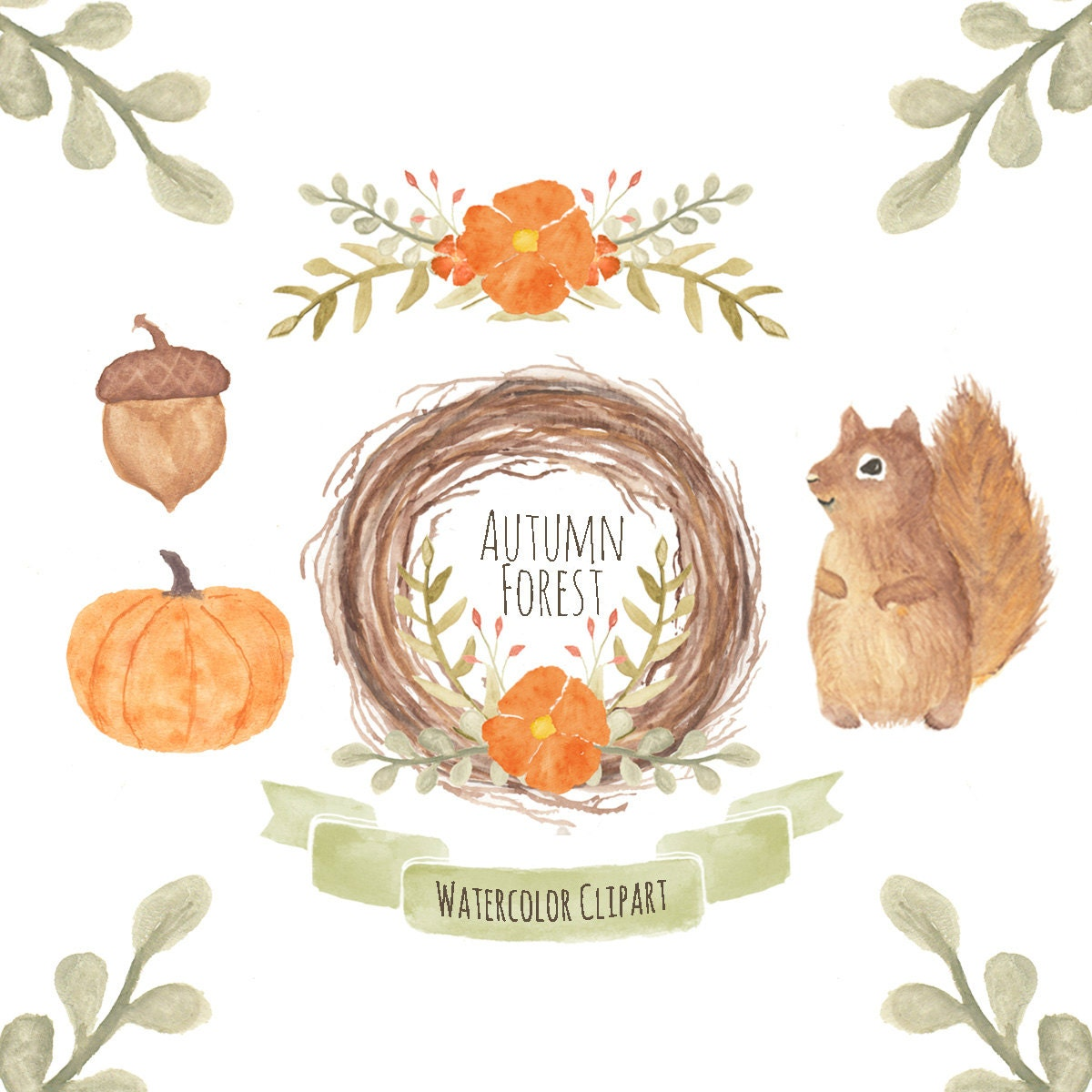 Fall clipart Autumn clipart watercolor flower wreath