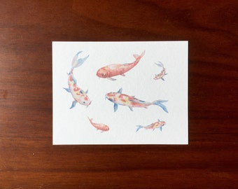 Koi Fish Postcards multipack post cards letter card mailing postal holiday travel notecard notes logo free underwater