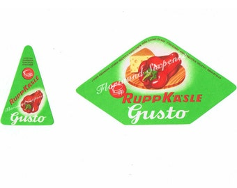 Gusto Cheese Labels Vintage Ephemera Pepper and Cheese illustration x 2