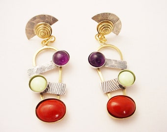 Brass and Silver Earrings Mixed Metal with Amethyst, Lemon Chrsoprase, Red Jasper Sterling Post Modern Dangle