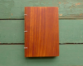 Mahogany Wood Journal, Sketchbook or Guestbook - Mini size 4 x 6