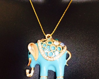 Fitbit Necklace for Fitbit Flex Fitness Trackers - The BLUE ELEPHANT Turquoise and Silver Elephant Fitbit Necklace - Free U.S. Shipping