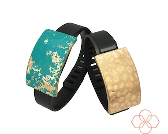 Bundle Pack! - The ROXANNA Charms in Blue and Hammered Gold to Dress Up Your Favorite Fitness Activity Tracker - FREE U.S. Shipping