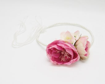 Hot Pink Cabbage Rose Flower Crown with pearls for Weddings Bridal Bridesmaid Hens and Parties