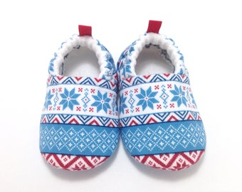 Nordic Baby Shoes, Soft Sole Baby Shoes, Christmas Baby Booties,Toddler slippers, Baby Shower Gift, Nordic Christmas, Blue baby shoes
