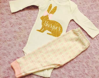 Baby Easter outfit. First Easter. Baby's first Easter. Baby girl Easter. Baby leggings.