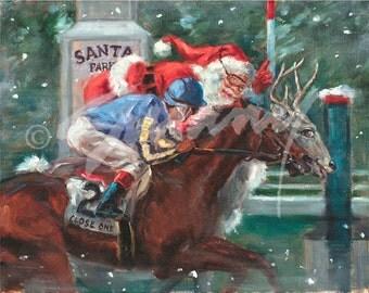 "Christmas Card of Horse Racing - ""Santa Park"" by Celeste Susany"