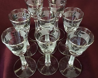 Cordial Stemware | Set of Eight | Silver Foliage | Libbey
