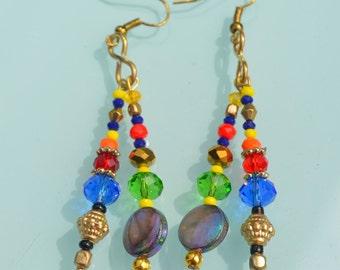 Colorful Glass metal Earrings, dance gypsy Dangle Earrings, handmade Glass Earrings, gypsy boho chic earrings, summer chic earrings