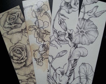 Handmade Laminated Stippled Flower Bookmarks
