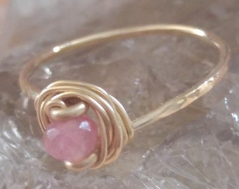 Handmade Pink Watermelon Tourmaline Ring - Wire Wrapped Ring - 14K Goldfilled Ring - Choose US Size 4-12,