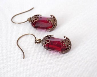 Ruby Earrings Swarovski Ruby Crystal Earrings Victorian EarringsVictorian Jewelry Estate Style