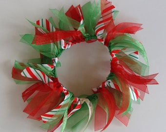 Small Candy Cane Striped Ribbon Collar READY TO SHIP!